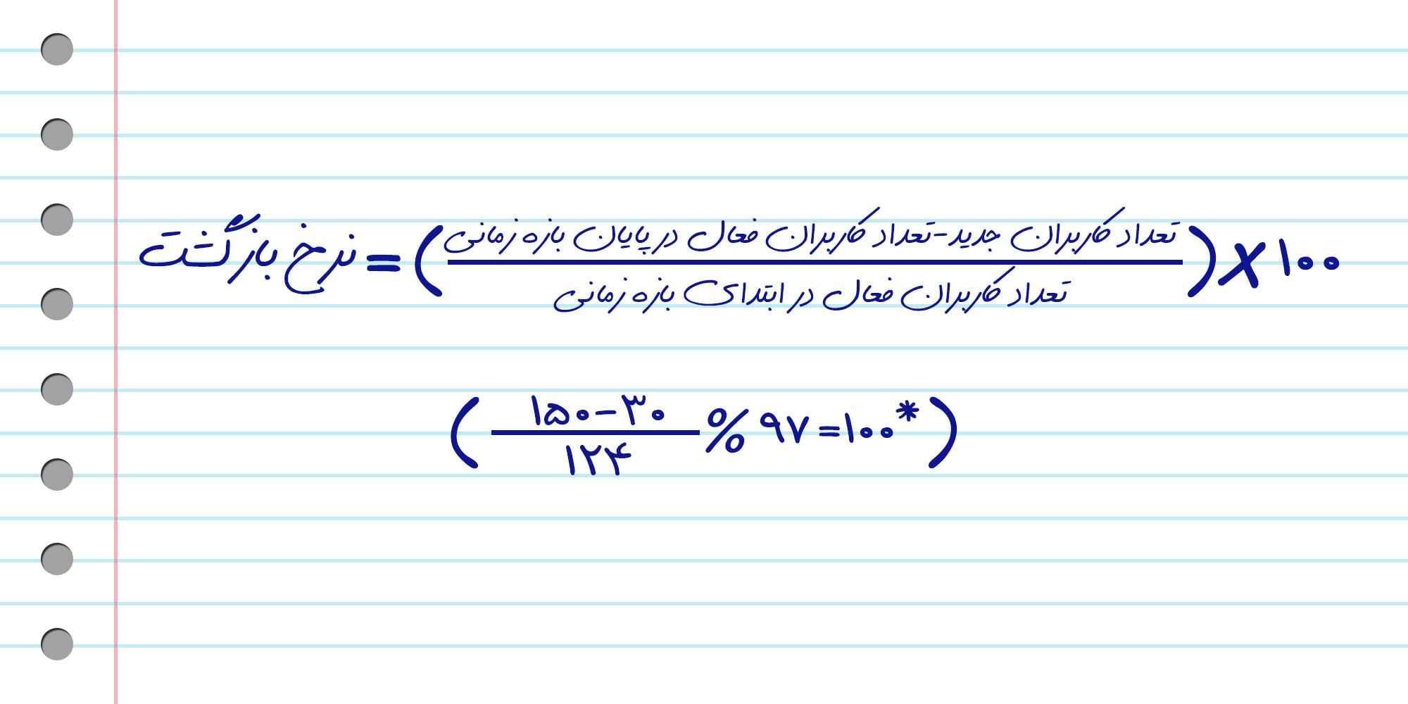 فرمول محاسبه نرخ بازگشت کاربر به اپلیکیشن
